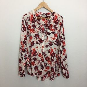 LUCKY BRAND Floral Print Long Sleeve Blouse